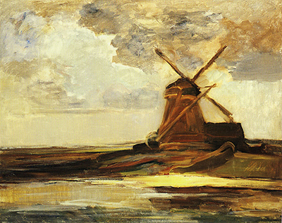 Oostzijdse Mill with Panoramic Sunset and Brightly Reflected Colours Piet Mondrian