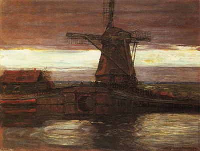Stammer Mill with Streaked Sky Piet Mondrian